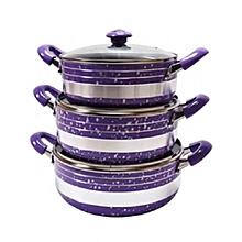 Non-Stick Kitchen Cooking Pot - 3 Piece Set - Purple 12.4cm x 12.4cm - Purple