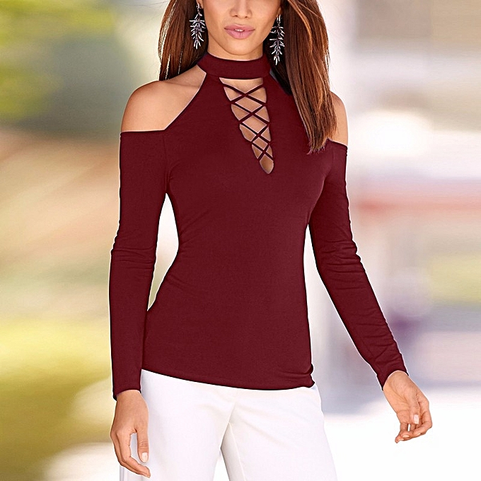 ee59b4bc4b90a4 ZANZEA Women Autumn Sexy Off Shoulder Blouses Tops Vintage Turtleneck Long  Sleeve Hollow Out Solid Blusas