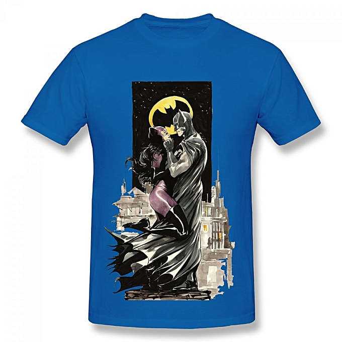Catwoman Mens Cotton Short Sleeve Print T Shirt Blue