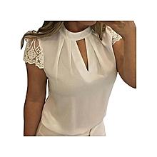 f28b7155e4903d Fashion Women Short Sleeve Top Blouse Casual Chiffon Splice Lace Crop—white