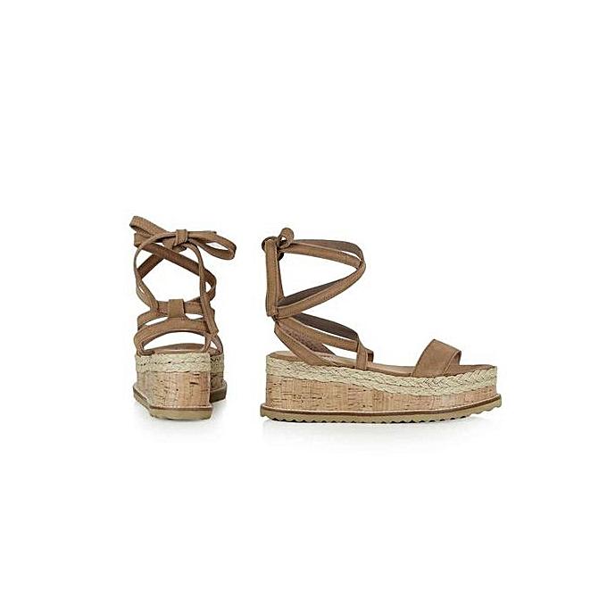 c83473b1eb6f ... Jiahsyc Store Ladies Women Roman Shoes Platform Woven Thick-Bottom  Waterproof Wedge Sandals -Brown