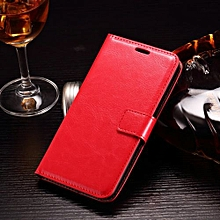 "For Moto X Play Case, Slim Holster Soft Flip Leather Cover With Card Slot Stand Function For 5.5"" Moto X3 Lux/ Droid Maxx 2, Red"