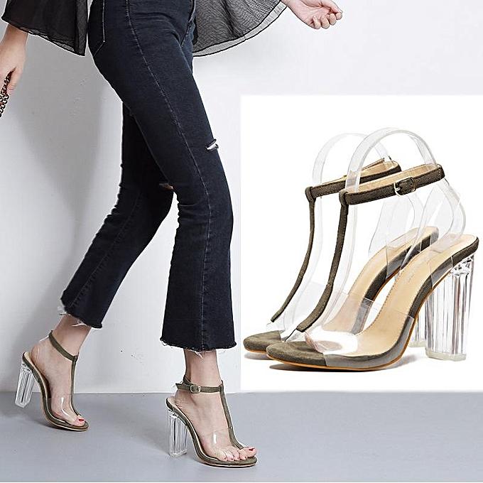 982bd19533e4 New Women Transparent Clear Heel Ankle Strap Sling Back Sandal Open Toe  Shoes-EU ...