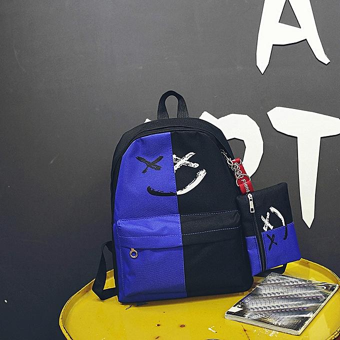 ... huskspo 2Pcs Women Girls Smile Shoulder Bookbags School Travel Backpack+Small  Bag ... 4f0bef1033d54