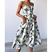 New Summer Women's Floral Print Sleeveless Shoulder-Straps Buttoned Backless Sexy Dress With 20 Colors Optional (Pineapple)