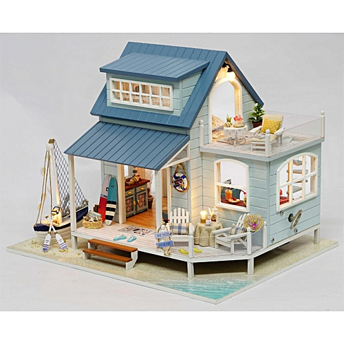 DIY Wooden Cottage Dollhouse Miniature Kit Dolls House W/ Furniture Music  Gift