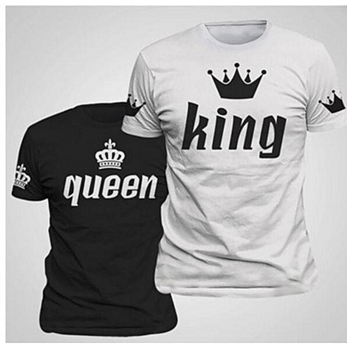 ce3e132a1 New King & Queen Couple Matching Shirts with Short Sleeve Print T-shirt -White
