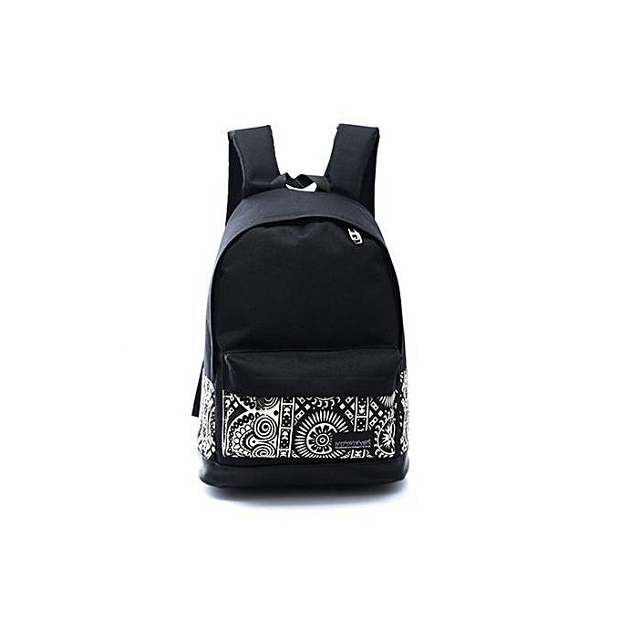 bluerdream-Unisex Boys Girls Canvas Rucksack Backpack School Book Shoulder  Bag-Black 033a0c05c4
