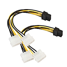 Dual Molex 4 Pin To 8 Pin PCI-E Express Converter Adapter Power Cable 18cm- Multicolor