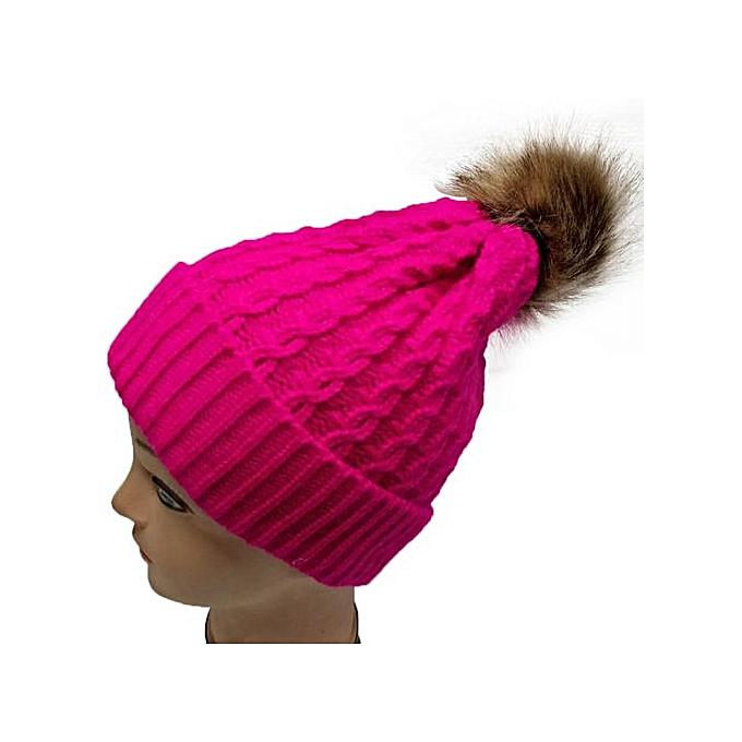 Zetenis Women Crochet Wool Knit Beanie Beret Ski Ball Cap Baggy Winter Warm  Hat HOT - d14d02c2452
