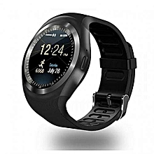 Y1 Fashion Touch Screen Smart Watch Phone with SIM Slot - Black