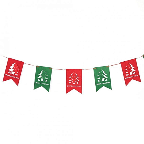 Non Woven Fabric Christmas Hanging Flags Diy Banner Wall Party Decor Hollow Christmas Tree