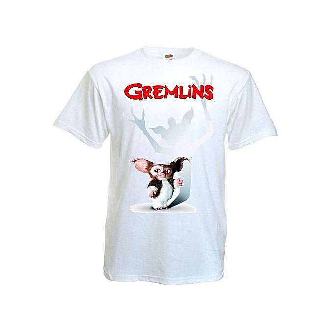 349e930660d Gremlins Gizmo Movie Poster T Shirt White Printed T Shirts Short Sleeve  Funny Tee