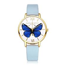Luxury Women's  LVPAI Wrist Watches Women Classic Butterfly Leather Band Analog Quartz Round Wrist Watch Light Blue-Light Blue