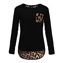 ZANZEA Autumn Spring Women Blouses Casual Tee Tops Long Sleeve Shirts Plus Size Blusas Femininos Leopard Patchwork Blouse(Black)