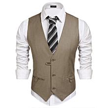 Men V-Neck Solid Pocket Casual Button Suit Vest Waistcoat-Khaki