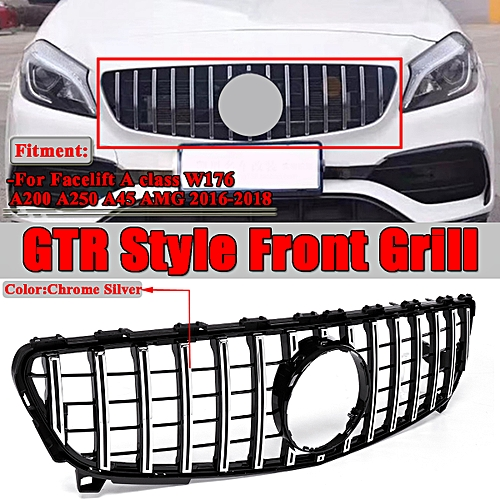 Gtr Grille For Mercedes Benz W176 A250 A200 A45 Amg 2016 2018 Black Chrome Grill