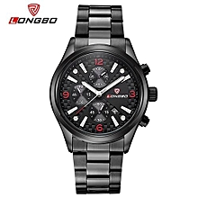 Watches, 80184 Luxury Men Full Stainless Steel Band Sports Luminours Business Quartz Watches For Men Leisure Clock Military WristWatch - Black