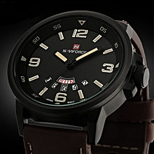 Naviforce Africashop Watch  Men Analog Quartz Date Sport Army Leather Wrist Watch Waterproof Watches-As picture