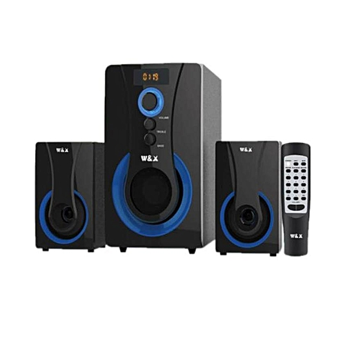 W1 - 2.1 MULTIMEDIA SPEAKER SYSTEM POWERFUL ENERGETIC 100% WOODEN MADE SUPER WOOFER BLACK.