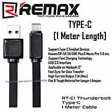 Remax Type-C Data RT-C1 Thunderbolt Technology 2.1A and Transmission 1 Meter Cable with USB 3.0 Interface (Black) DIOKKC