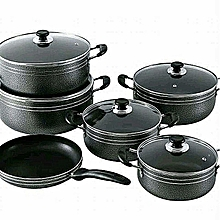 Heavy Non-Stick Cookware Pot Set- Free Apron, Scourching pad, 2 spoons & 2 forks