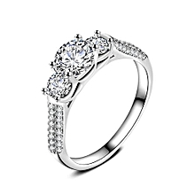 Women Fashion Jewelry Silver White Zircon Wedding Ring Size 8