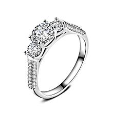 Women Fashion Jewelry Silver White Zircon Wedding Ring Size 8