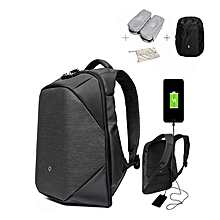 CLICK High End Version 15.6inch Anti Theft USB Laptop Backpack Waterproof Nylon Storage Rucksack