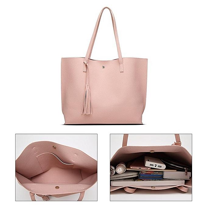 165bf5e206e ... Women Single-shoulder Bag Large Capacity Ladies Bag With Tassel  Decoration Pink ...
