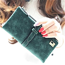 Rushed Lady Bag Women Wallets Purse Matte Drawstring Nubuck Handbags Leather Zipper Long Two Fold Clutch Card Holder Light Green