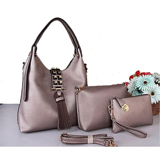 Grey 3 In 1 Classy Las Handbags