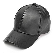 Unisex Men Women Soft Leather Baseball Cap Biker Adjustable Outdoor Sports Hats Black