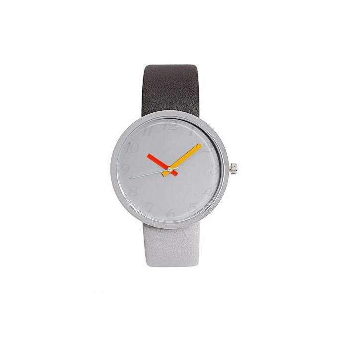 Women s Watch Men s Watch Glass Round Skin Strap Alloy Quartz Lovers Watches -Gray eae99f448a