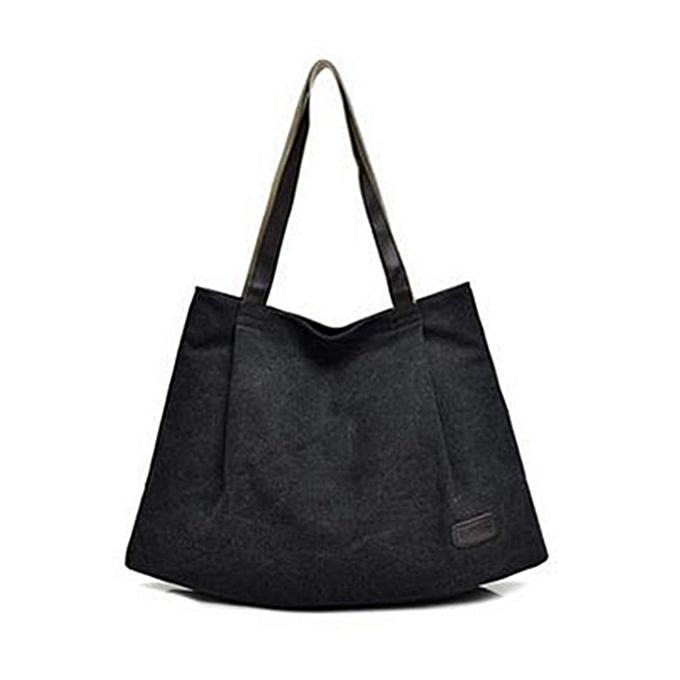 Women Large Canvas Handbag Shoulder Bag Cross Body Bags Tote Shopping  Satchel Black 34bd71a564461