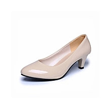 Nude Shallow Mouth Women Office Work Heels Shoes Elegant Ladies Low Heel-Beige (EU Sizing)
