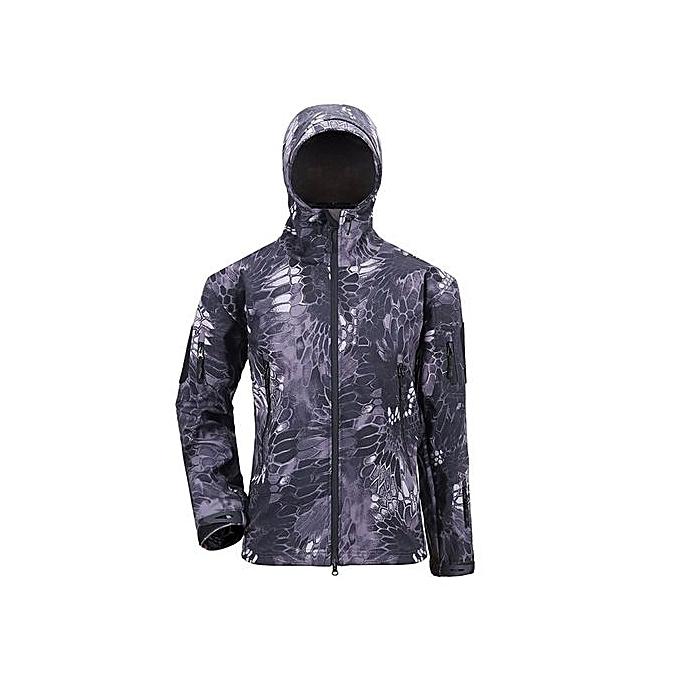 1d61cad5cc30c UJ Military Tactical Men Jacket Shark Skin Soft Shell Waterproof Windproof  Coat-Black Python-