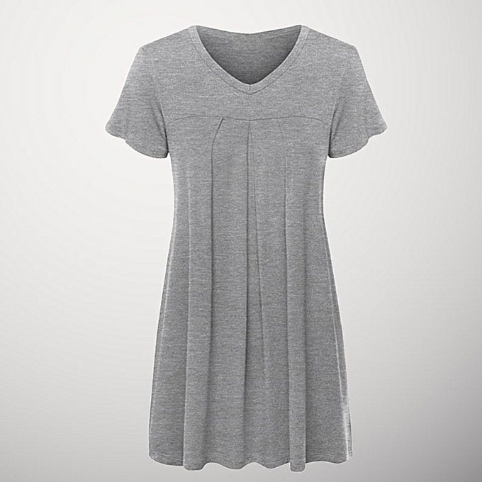 35510540d1c310 Hiaojbk Store Women's Plus Size Pleated Short Sleeve V Neck Blouse Top Tunic  Blouse Shirt -