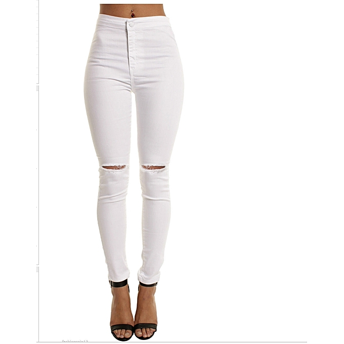c0531236a3882 ... pants for women-white · Hot sale women s skinny jeans high waist  elastic cotton jeans thin knee hole jeans