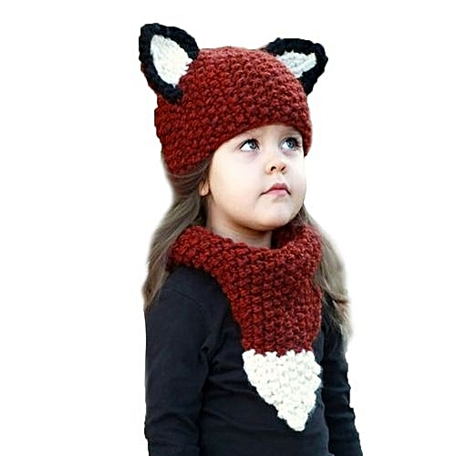 Eissely Winter Kid Warm Squirrel Animal Hat Knitted Hood Scarf Beanies For  Autumn Winter 9b091ac185c