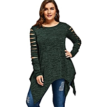 Plus Size Marled Ripped Sleeve Handkerchief Top - DEEP GREEN