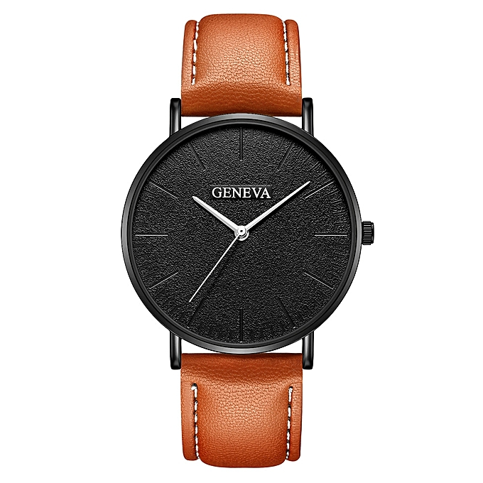 2b82e03edc Fashion Men s Leather Military Casual Analog Quartz Wrist Watch Business  Watches-Brown