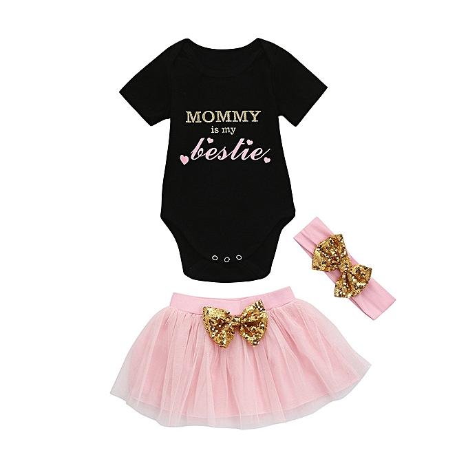 c490e4e768a 3pcs Toddler Baby Kids Girls Clothes Romper+Tutu Skirt+Headband Set Outfits