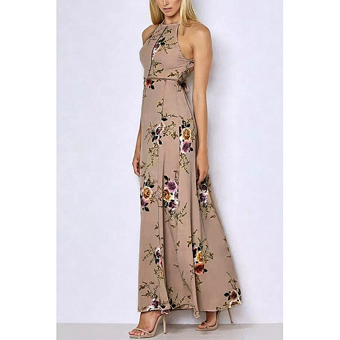 f0fea51661 Formal Style Summer Autumn Backless Lace-up Design Halter Neck Open Back  Random Floral Print
