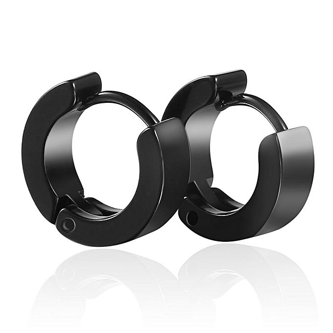 1 Pair Unique Cool Mens Stainless Steel Hoop Piercing Ear Earring Studs Black