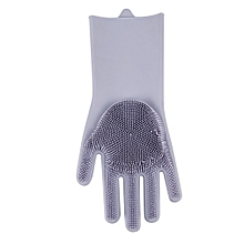 Magic Dish Washing Gloves Eco-Friendly Scrubber Magic Silicone Gloves grey