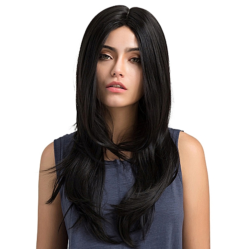 OEM Fashion Synthetic Black Middle Parting Long Multi-layer Straight hair  Wigs Women 30d53179a4