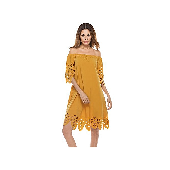 90c56636d697 Hiaojbk Store Fashion Women Off Shoulder Sundress Mini Dress Beach Party  Dress-yellow