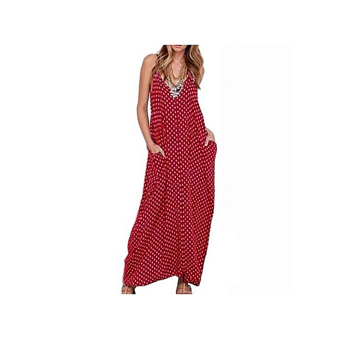 e10e10ba81309 ZANZEA Summer Women Sexy Strapless Polka Dot Casual Loose Long Maxi Dress  Sexy Beach Dresses Plus