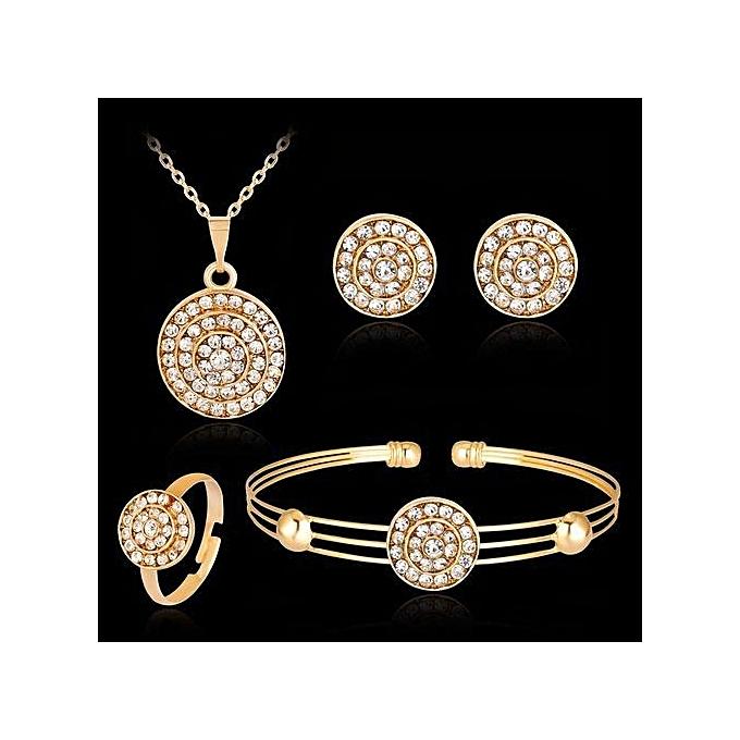 b883f914d9ef1 Wedding Fine Jewelry Round Shape Zircon Crystal Diamond Necklace Earrings  Ring Bracelet Engagement Jewelry Set